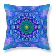 Blue Mandala For Heart Chakra Throw Pillow