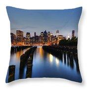 Blue Manhattan Throw Pillow