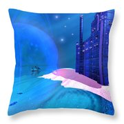 Blue Mansions Throw Pillow