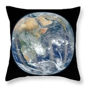Blue Marble 2012 - Eastern Hemisphere Of Earth Throw Pillow