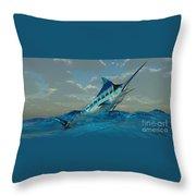 Blue Marlin Burst Throw Pillow