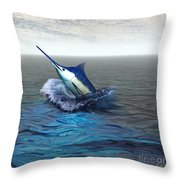 Blue Marlin Throw Pillow by Corey Ford
