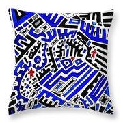 Blue Maze Throw Pillow