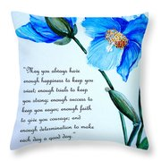 Blue Meconopsis Poppy Throw Pillow
