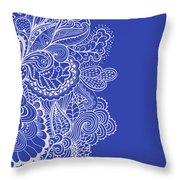 Blue Mehndi Throw Pillow