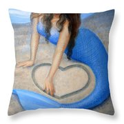 Blue Mermaid's Heart Throw Pillow by Sue Halstenberg
