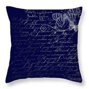 Blue Midnight Butterfly Throw Pillow