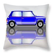 Blue Mini Car Throw Pillow