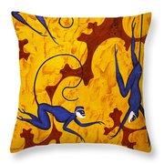 Blue Monkeys No. 45 Throw Pillow