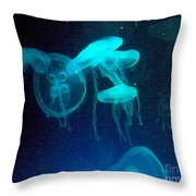 Blue Monsters Throw Pillow