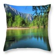 Blue Mood In Yosemite Throw Pillow
