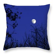 Blue Moon Among The Tree Tops Throw Pillow