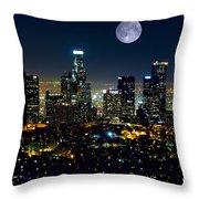 Blue Moon Over L.a. Throw Pillow