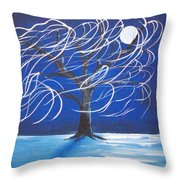 Blue Moon Willow In The Wind Throw Pillow