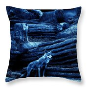 Blue Moon Wolf Pack Throw Pillow