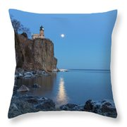 Blue Moonrise At Split Rock Lighthouse Throw Pillow
