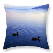 Blue Morning Lake George Throw Pillow