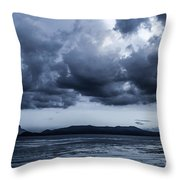 Blue Morning Taal Volcano Philippines Throw Pillow
