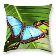 Blue Morpho Butterfly 2 - Paint Throw Pillow