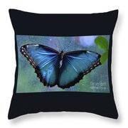 Blue Morpho Butterfly Portrait Throw Pillow