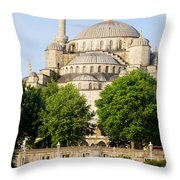 Blue Mosque Throw Pillow
