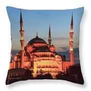 Blue Mosque At Dusk Throw Pillow