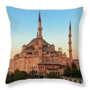 Blue Mosque Blue Hour Throw Pillow