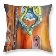 Blue Mosque Door Throw Pillow