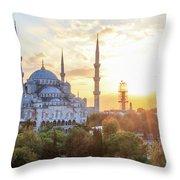 Blue Mosque Sunset Throw Pillow