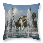 Blue Mosque Through The Fountain Throw Pillow