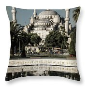 Blue Mosque - Vintage Blue Throw Pillow