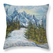 Blue Mountain Torrent Throw Pillow