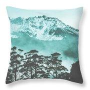 Blue Mountain Winter Landscape Throw Pillow