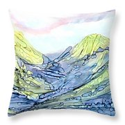 Blue Mountains Alcohol Inks  Throw Pillow