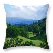 Blue Mountains Green Pastures Throw Pillow