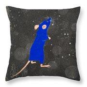 Blue Mouse Throw Pillow