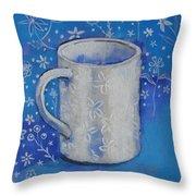 Blue Mug With Flowers Throw Pillow