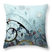 Blue Mystery Forest Of Flowers And Tendrils Throw Pillow
