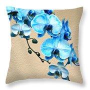 Blue Mystique Orchid Throw Pillow