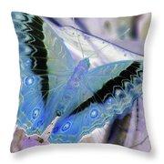 Blue Negative Throw Pillow