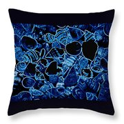 Blue Neon Shells Throw Pillow