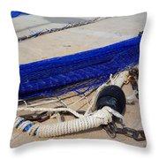 Blue Net Throw Pillow