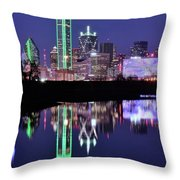 Blue Night And Reflections In Dallas Throw Pillow