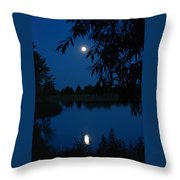 Blue Night Moon And Reflection Throw Pillow