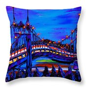 Blue Night Of St. Johns Bridge 37 Throw Pillow