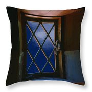 Blue Night Through Casement Throw Pillow