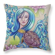 Blue Nova Throw Pillow