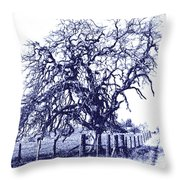 Blue Oak Throw Pillow