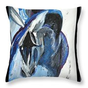 Blue Olympic Horse  Throw Pillow