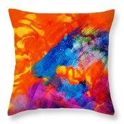 Blue On Orange Throw Pillow